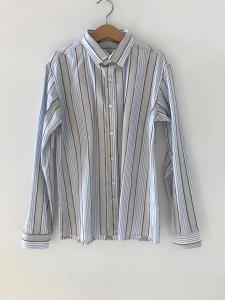 Camicia bianca con righe celesti, grigie e marroni