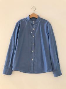 Camicia celeste scuro con colletto coreano
