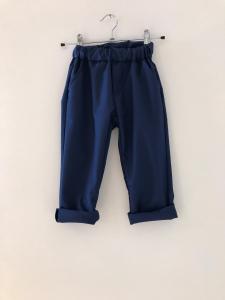 Pantalone blu con laccio beige