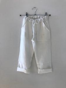 Pantalone bianco con laccio beige