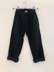 Pantalone nero con laccio beige