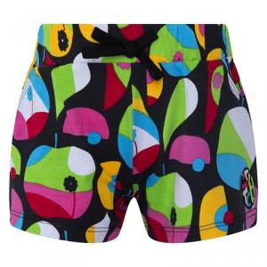Pantaloncino nero con stampa frutta multicolore