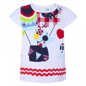 Blusa bianca con stampe e ricami multicolore
