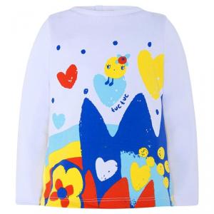 Blusa bianca con stampe multicolore