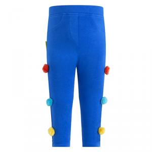Leggins blu con pompon multicolore