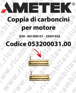 Couple of Brush Motor for vacuum motor 061300151 for motore  Ametek A39 - 25051452 x Cod: 053200031.00