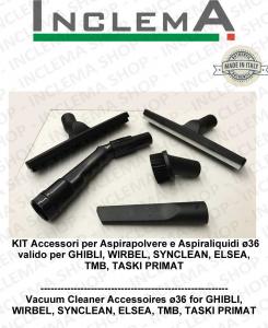 KIT Accesorios  Aspiradores en seco/húmedo ø36 válido para GHIBLI , WIRBEL, TMB , ELSEA, TASKI PRIMAT