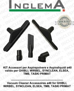 KIT Accesorios para aspiradora e Aspiraliquidi ø40 válido para GHIBLI, WIRBEL, SYNCLEAN, ELSEA, TMB, TASKI PRIMAT