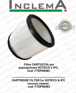 Cartridge Filter for vacuum cleaner SOTECO e IPC Cod: FTDP00583