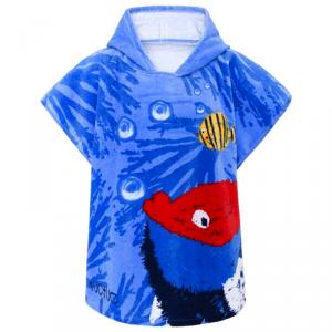 Accappatoio blu con stampe pesci e coralli