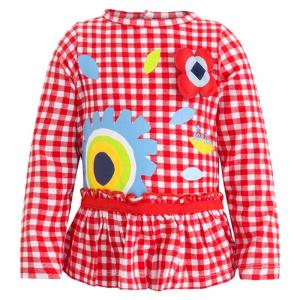 Blusa a righe bianche e rosse con stampe multicolore
