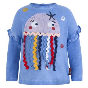 Blusa blu con stampa e ricamo medusa