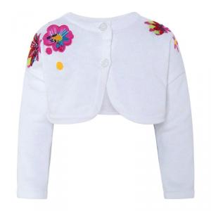 Cardigan bianco con ricami fiori e logo