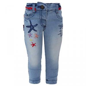 Jeans con ricami multicolore