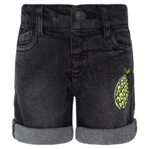 Pantaloncino di jeans grigio scuro con ananas stampata