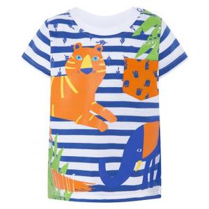 T-Shirt a righe bianche e blu con stampe animali e piante