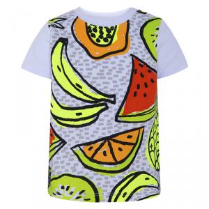 T-Shirt bianca con stampa frutta multicolore