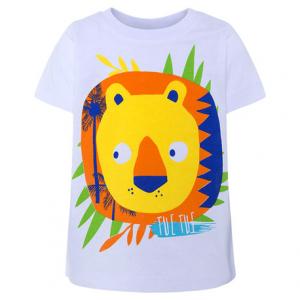 T-Shirt bianca con stampa leone multicolore