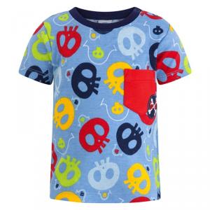 T-Shirt celeste con stampa teschi multicolore