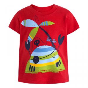 T-Shirt rossa con stampe granchio e palma multicolore