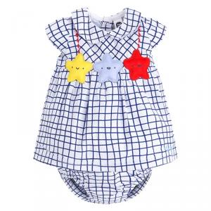 Vestito + culotte bianchi con righe blu e stelle multicolore
