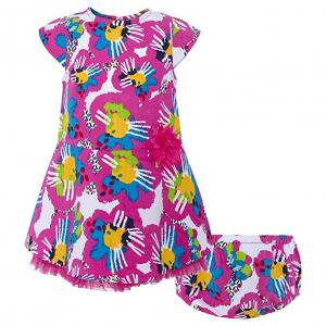 Vestito + culotte rosa con stampa fiori multicolore