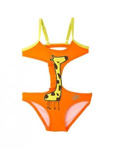 Costume da bagno arancione con giraffa lime