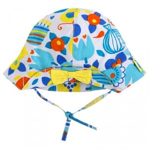 Cappello bianco con stampe multicolore