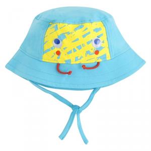 Cappello celeste stampa gialla e laccio