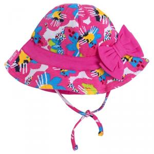 Cappello rosa con stampe multicolore, laccio e fiocco