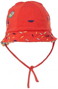 Cappello rosso con laccio e ricami multicolore