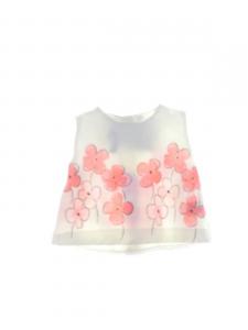 Canotta bianca con stampa fiori rosa