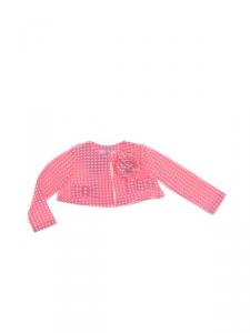 Giacca rosa con pois bianchi, fiore e fiocchi