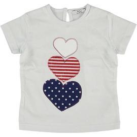 T-Shirt bianca con stampa cuori multicolore