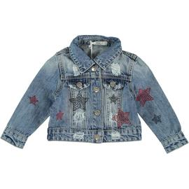 Giubbotto di jeans con stelle strass blu e rosse