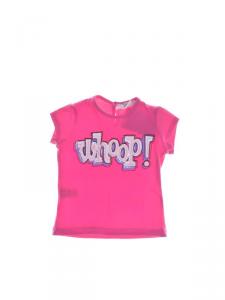 T-Shirt fucsia con stampa scritta rosa e celeste