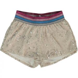 Pantaloncino con vita glitter multicolore e paillettes