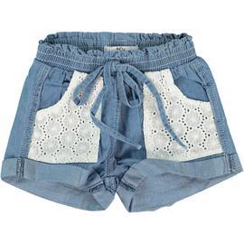 Pantaloncino effetto jeans con laccio e tasche bianche