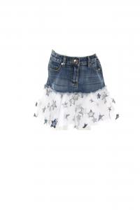 Gonna di jeans con fondo bianco, velo trasparente e stelle