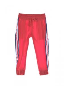 Pantalone di tuta rosso con bande multicolore