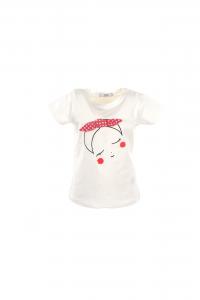 T-Shirt bianca con strass e fiocco rosa a pois bianchi