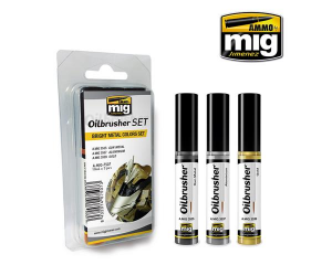 3 x OILBRUSHER, BRIGHT METAL COLORS SET