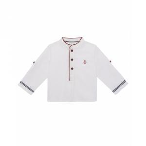 Camicia bianca con ricamo ancora rosso