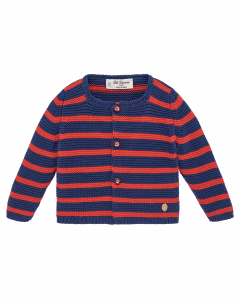 Cardigan a righe blu scure e rosse