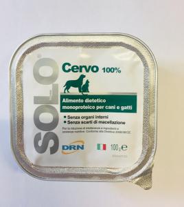 Alimento umido monoproteico  SOLO DRN 100% Cervo  Confezione da 100 gr