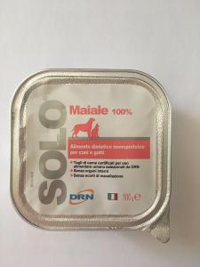 Alimento umido monoproteico  SOLO DRN 100% Maiale  Confezione da 100 gr