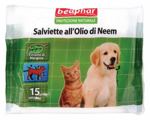 Beaphar Protezione Naturale  Salviettine antiparassatarie all'olio di Neem per Cani e Gatti