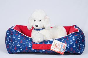 Croci Cooling Bed Croci cuccia morbida con cuscino per cani refrigerante fantasia ancore blu rossa e bianca 60x45x18 cm