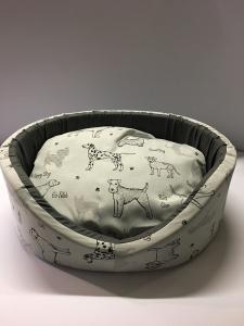 Cuccetta Sfoderabile mis 40 Stampa Happy dog 46x40x17 cm Made in Italy