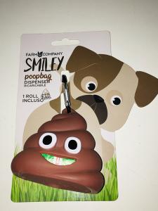 Smiley Poopbag Farm Company  Simpatico dispenser in silicone per sacchetti igienici.